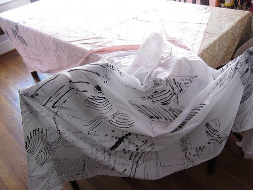 drawings on fabric - 1st layer before printing