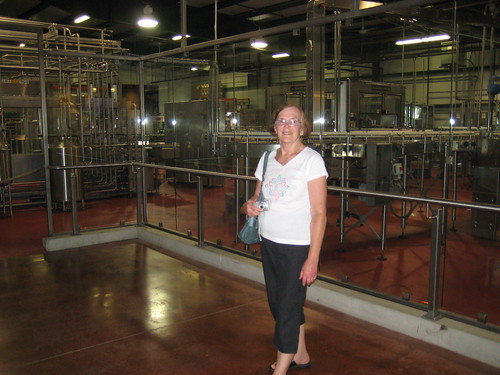 Mom at New Glarus brewery, interior