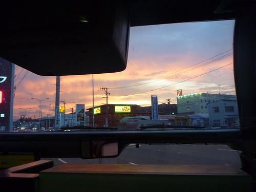 夕焼け, 大船渡で震災復旧ボランティア(帰路) Japan Quake Volunteer Bus to Ofunato, Iwate pref.