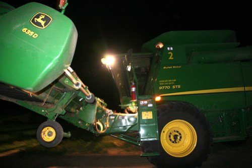 James moving to the next field at night.