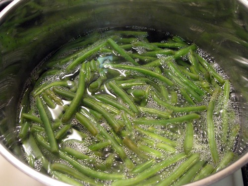 Skinny Green Beans Boiling in Salted Water