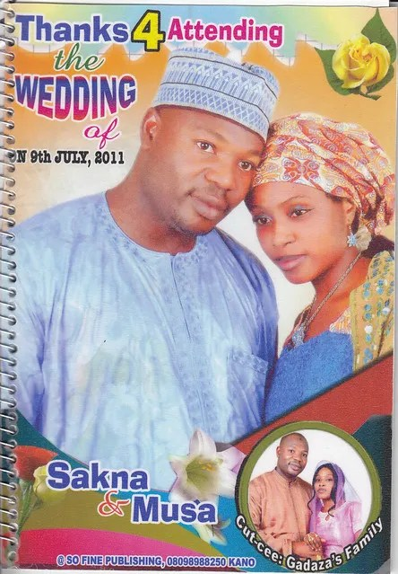 Congratulations to Kannywood actress Sakna Gadaza and Musa Bello on their wedding, 9 July 2011 (1/6)