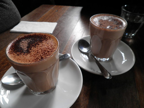 Mocha and hot chocolate