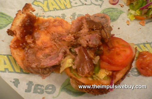 Subway BBQ Pulled Pork Sandwich Innards