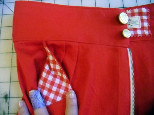 red gingham pockets