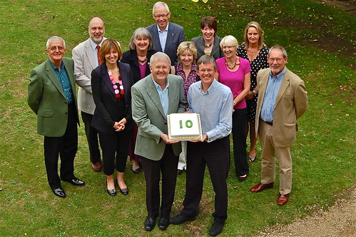 Phil Griffiths and Richard Tadman celebrate the 10th anniversary of outplacement specialist Connect with consultants (L-R) Bob Hayward, Nigel Price, Zena Everett, Catherine Price, Eddie Williams, Helen Priestley, Caroline Hunt, Jenny Griffiths, Suzanne Sharp and Barry Rutterford