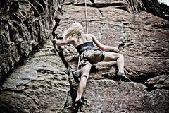 Lis in High Heels Rock Climbing