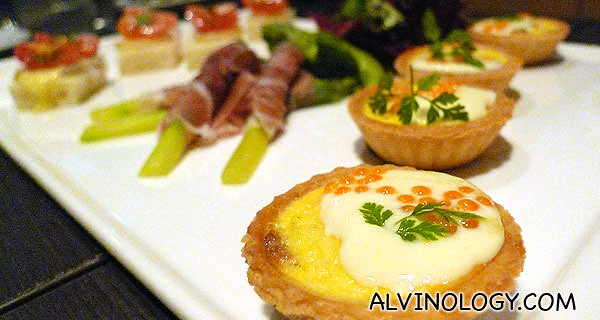 Smoked salmon tarts with creme fraiche and ocean trout caviar