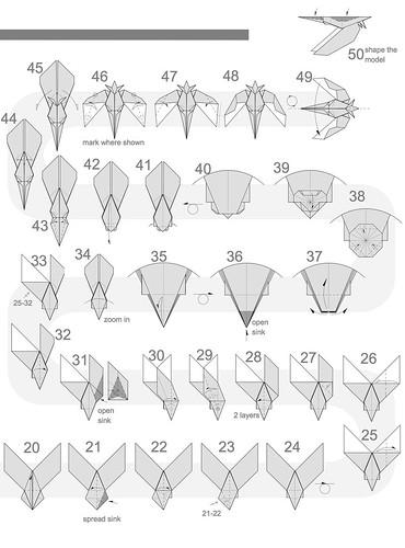 origami hummingbird diagram instructions viair compressor wiring simple pinterest