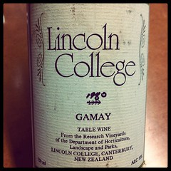 1980 Gamay, Lincoln College, NZ