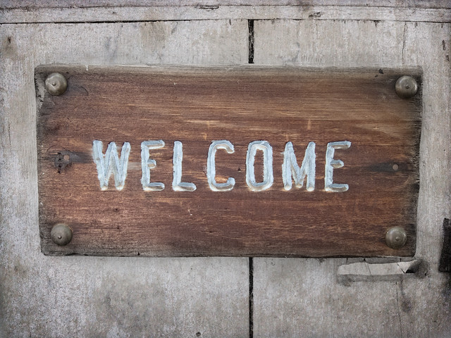 Welcome on the Old Barn at Allied Arts