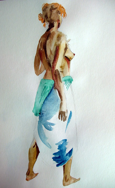 Watercolor painting of a woman standing, from behind