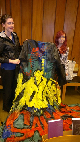Emily Hargreaves and Natalie Lawson show off one of the costumes