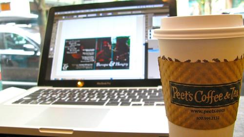 Sitting in Peet's Coffe and Tea in Portland, Oregon