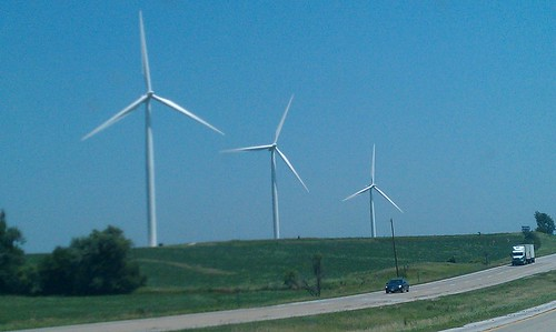 Three windmills in Adair, IA (phone camera)