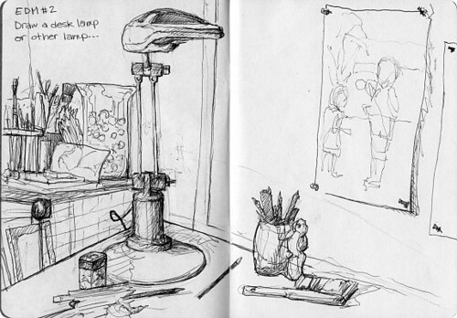 Sketchbook Project/EDM #2-Draw a desk lamp