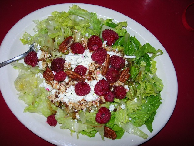 Summer Salad - Romaine, Raspberries and Chevre