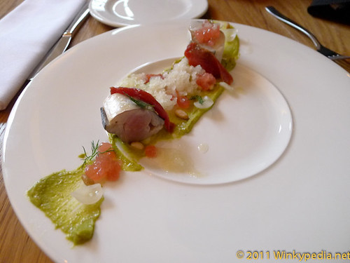 Mackerel with melon, pistachio & gooseberry granita at Corner Room, London