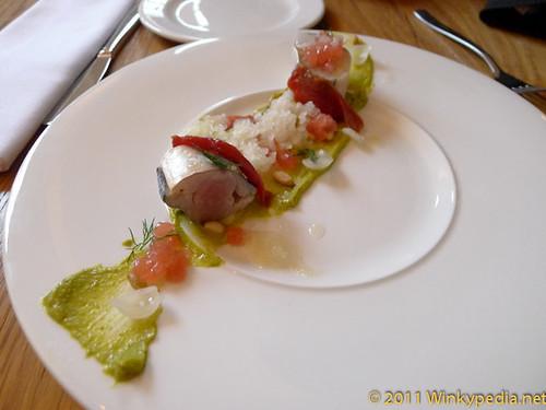 Mackerel with melon, pistachio & gooseberry granita at Corner Room, London