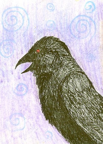 Vision of a Raven - Summer Solstice ATC sent to Traci by GreyCatsidhe