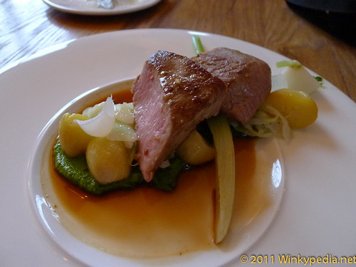 'Lamb loin' with baby witth vegetables and herbs at the Corner Room, London