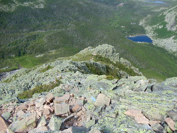 Looking down the Katahdin Cathedral Trail from near the top.