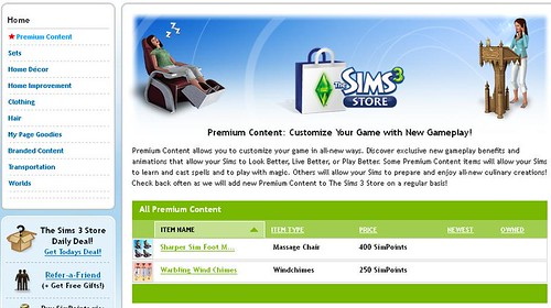 An Update or 2 to The Sims 3 Store
