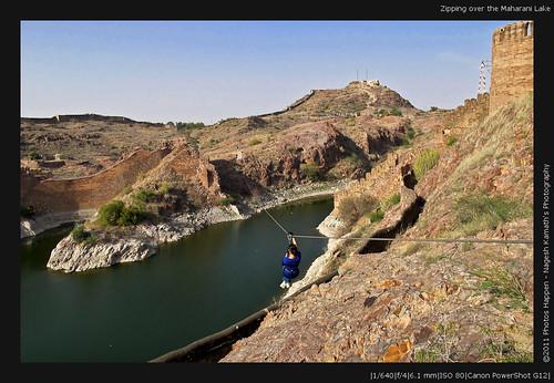 Zipping over the Maharani Lake