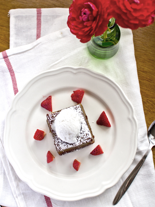 caramelised pandan cake with coconut sorbet