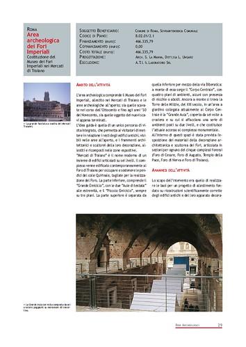 Rome, The Imperial Fora Project (1998-2011) Documents [in PDF]: Roma - Area Archeologica dei Fori Imperiali - Costruzione del Museo dei Fori Imperiali nel Mercati di Traiano. Com. di Roma (1999-2000). by Martin G. Conde