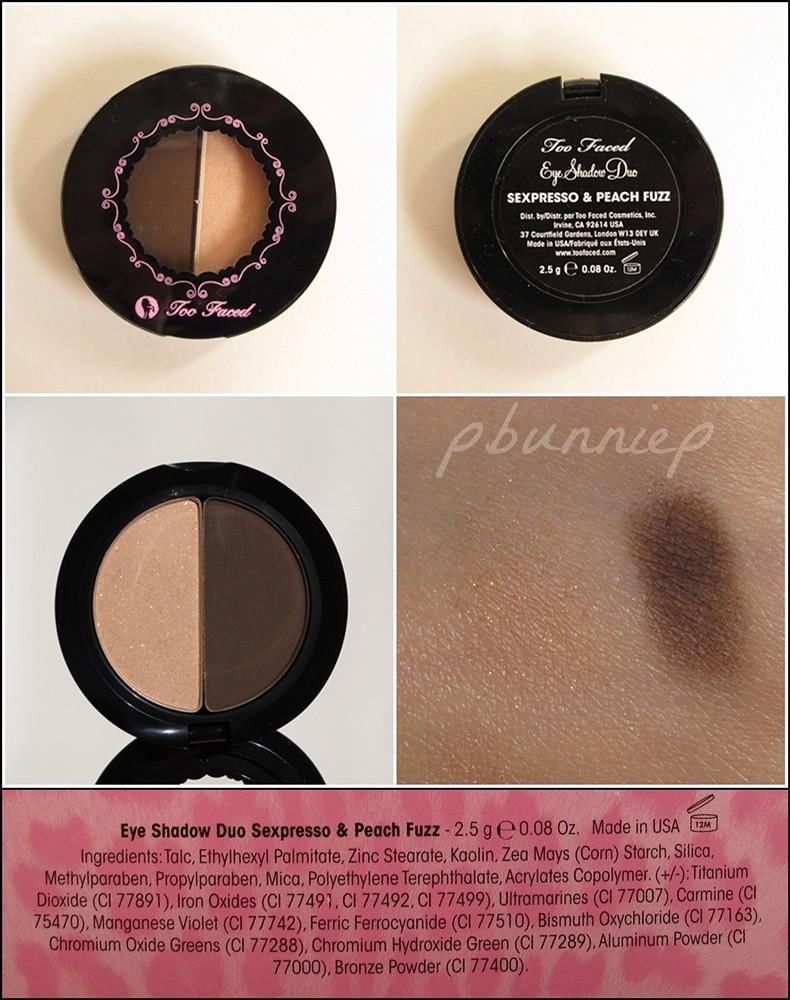 TooFaced Eyeshadow duo-swatch-ingredients