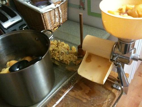 making applesauce and apple juice