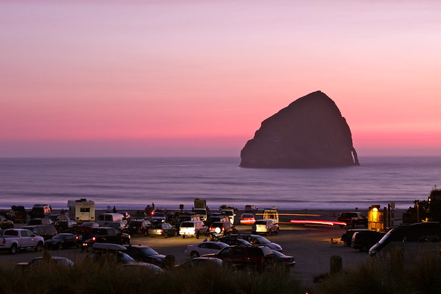 Pacific City at sunset