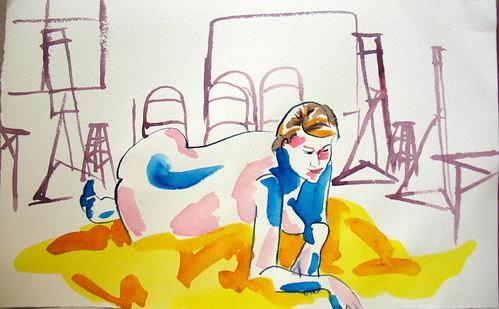 20-minute watercolor of nude woman in art studio