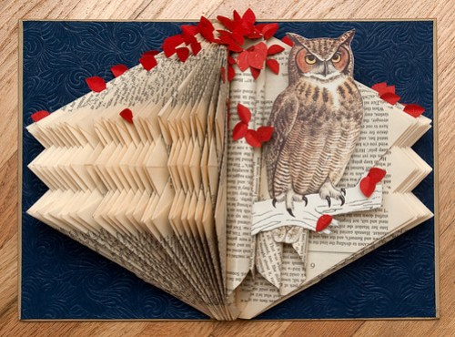 Altered Books Great Horned Owl