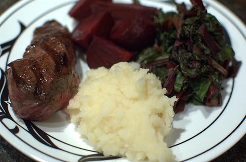 Kangaroo steak, beetroot, beetroot greens & celeriac mash