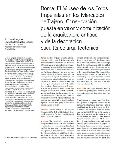 Rome, The Imperial Fora Project (1998-2011) Documents [in PDF]: L.Ungaro, Roma: El Museo de los Foros Imperiales en Los Mercados de Trajano (...). (2008). by Martin G. Conde