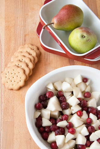 Makings of a Pear and Cranberry Crisp