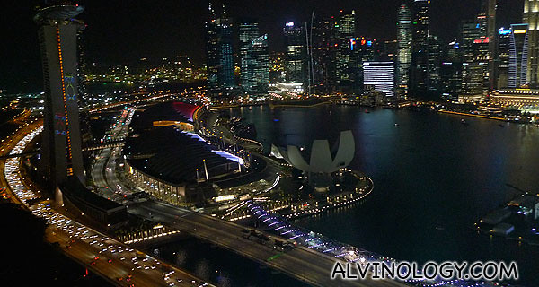 There's some light show on the MBS building featuring F1 cars, can you see them?