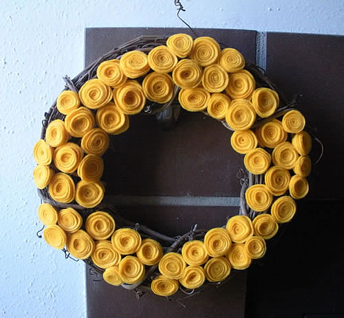Felt rosette fall wreath