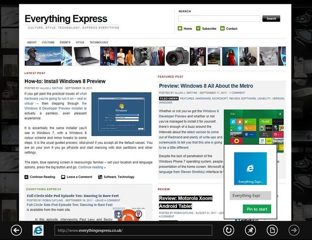 Windows 8 Developer Preview IE10 Metro version