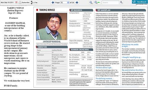 Jaydeep Mandal in Taking Wings, Indian Express 19th Sep by Vasu..