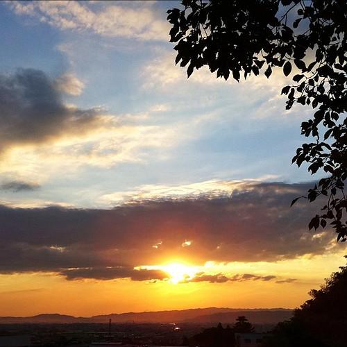仕事帰りの夕日…。 今日もお疲れさまでした。 #sunset #iphonography #instagram