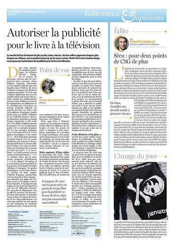 """Tribune de Arash Derambarsh """"Autoriser la publicité pour le livre à la télévision"""" (journal La Tribune) by Arash Derambarsh"""