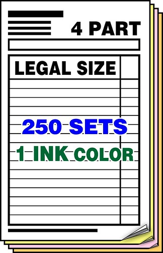 4part carbonlessforms 1colorink customprintedforms ncrforms3partlegalsize1inkcolor250setscarbonlessformsncrforms
