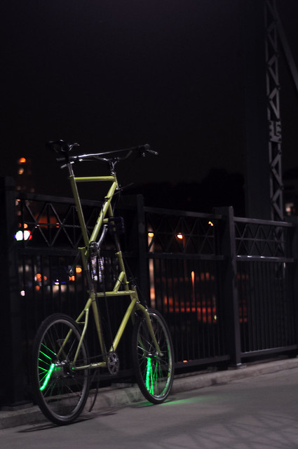 My custom built tall bike with the lights turned on standing on the Hot Metal Bridge in Pittsburgh, PA