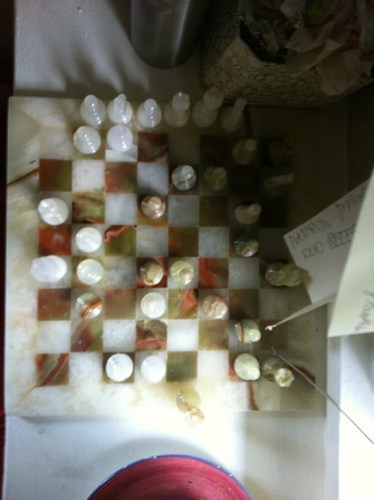 We've got a chess game going in the bedroom--whenever we come in, one of us moves. We've finished one game in 2 weeks.