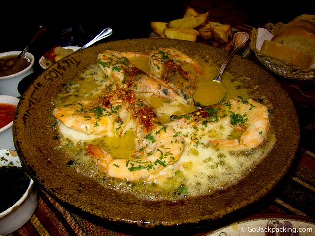 Langostinos bathed in garlic butter at Tiesto's Restaurant