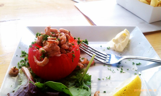 Tomato stuffed with North Sea shrimp tossed with a bit of homemade mayonnaise