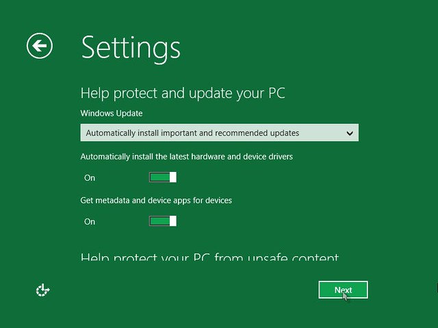 Windows 8 Installer protect and update